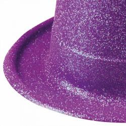 Hög hatt med glitter, Lila