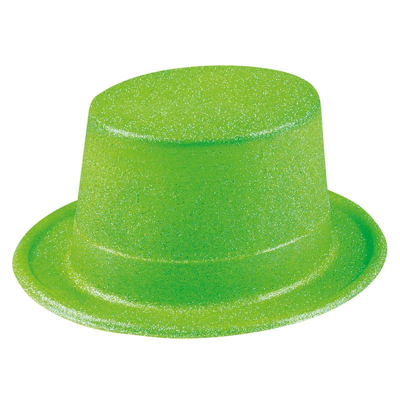 Hög hatt med glitter, Grön