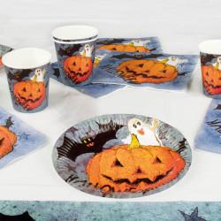 """Halloween-serviceset med servetter """"Pumpor och vänner"""""""