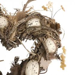 Påskkrans hjärta, 31 cm med dekoration och vita ägg