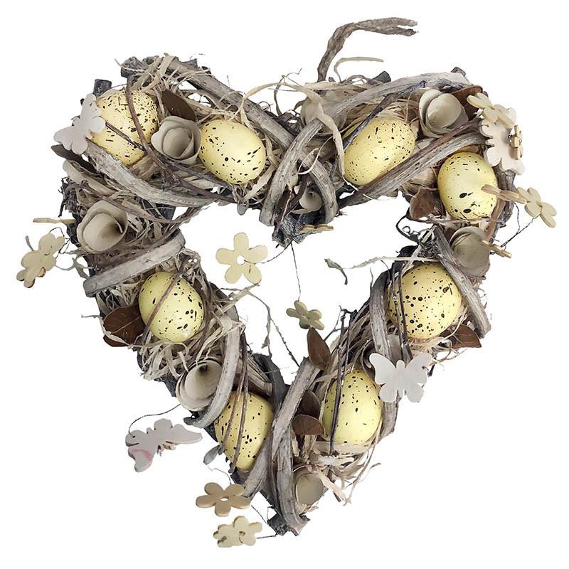 Påskkrans hjärta, 31 cm med dekoration och gula ägg