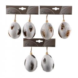 Påskägg, 8 cm med fjädrar och upphängning i 2-pack