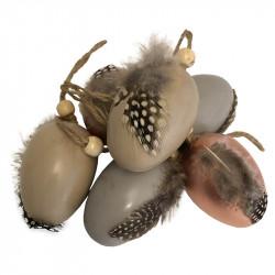 Påskägg, 6 cm med fjädrar pärl-fästanordning i 6 st./påse