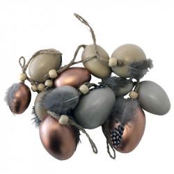 Påskägg med fjädrar och pärl-fästanordning,blandade i 12