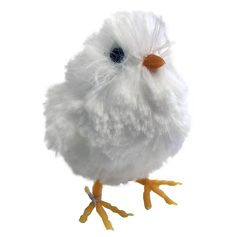 Kyckling, 9 cm med små vingar i vitt