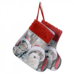 Julstrumpor med motiv av Schnauzer och kattunge,2 st./förpa