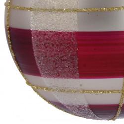 Julkula, 8 cm med rutmönster, bordeaux/vit