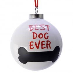 Julkula, 8 cm med hundmotiv: BEST DOG EVER och köttben