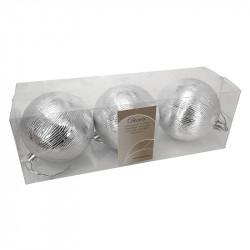 Julgranskulor med borstade ränder, 8 cm, 3-pack