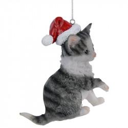 Julgransdekoration, Katt med tomteluva, grå