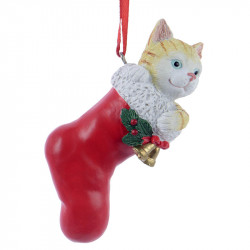 Juldekoration, Julstrumpa i röd med katt