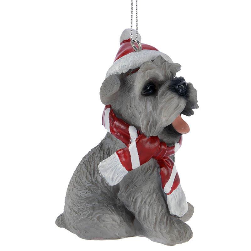 Julgransdekoration, hund med tomteluva, schnauzer