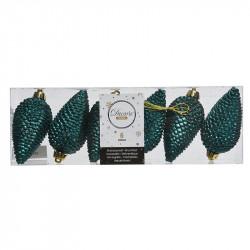 Grankottar, 8 cm med upphängning och glitter, i 6-pack