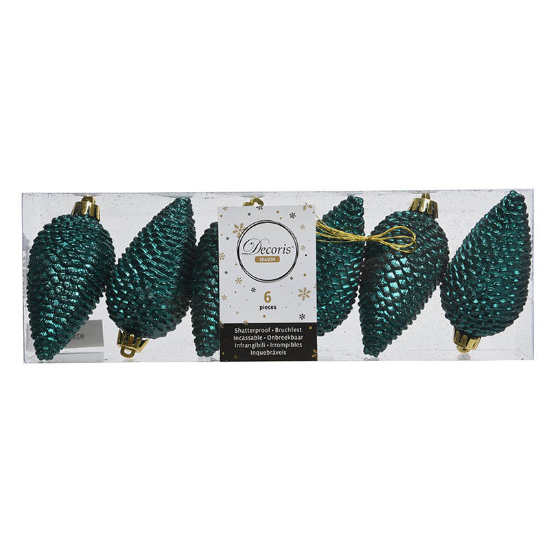 Grankottar, 8 cm med upphängning och glitter, i 6-pack,Smar