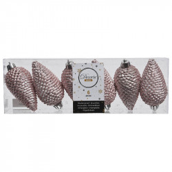 Grankottar, 8 cm med upphängning och glitter, i 6-pack, Rosa