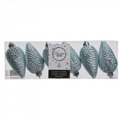 Grankottar, 8 cm med upphängning och glitter, i 6-pack,Ljus blå