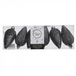Grankottar, 8 cm med upphängning och glitter, i 6-pack, Grå