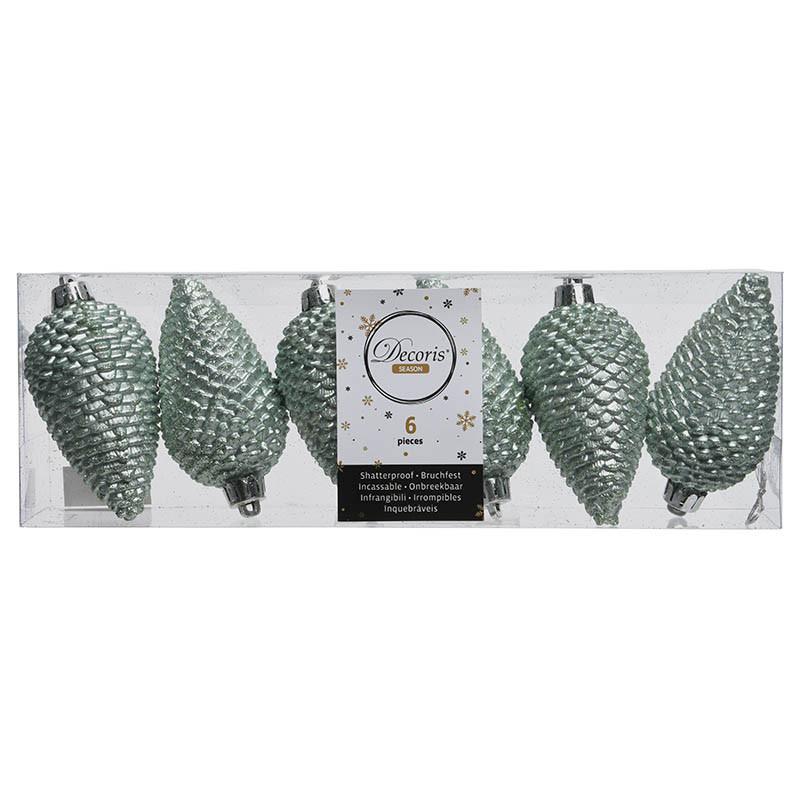 Grankottar, 8 cm med upphängning och glitter, i 6-pack,Euka