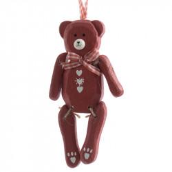 Björn med rosett och uppghängning, Röd