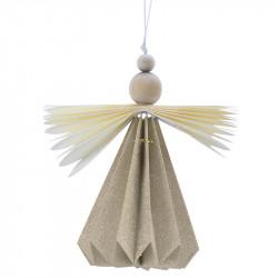 Ängel, 14 cm med vingar, träpärlor och upphängning,Champagn efärgad