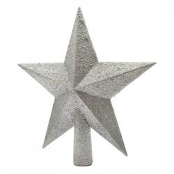 Toppstjärna med glitter, 19 cm Silver