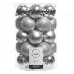 Julgranskulor, Silver-mix, 8 cm, 34-pack