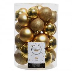 Julgranskulor, Guld-mix, 5-8 cm, 34-pack