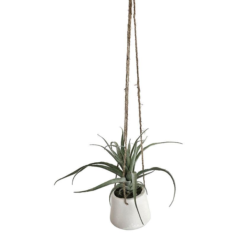 Hängande suckulent i vit kruka, Ø 30 cm H 20 cm,konstgjord växt