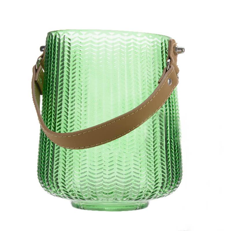Glaslykta med läderhandtag, mörkgrön