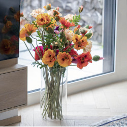 Vallmo, H: 70 cm, slutet blomhuvud, konstgjord blomma