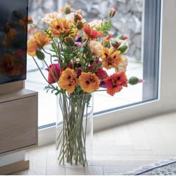 Vallmo, 3 persikofärgade blommor, 90 cm, konstgjord blomma