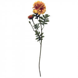 Tagetes m 2 blomhuvuden, 64cm, orange/gul, konstgjord blomma