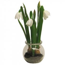 Snödroppe i glaskruka, Vit, 21cm, Konstgjord Blomma