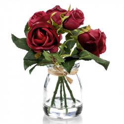 Rosbukett i glas, 5 st. röd, 18 cm, konstgjord blomma