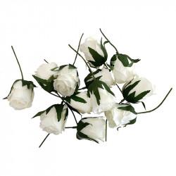 Ros på stjälk, crème, H17cm, konstgjord blomma