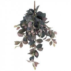 Fittonia hängknippe, grön/rosa, 75 cm, konstgjord planta