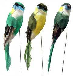 Fågel på pinne, 2 identiska i set med 3 blandade färger konsstgjort djur