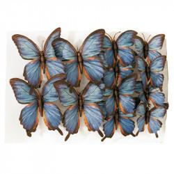 Fjärilar på klämmor, Blå, 12 st, 3 storlekar, Konstgjorda D ur