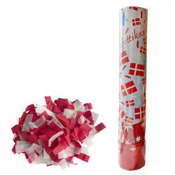 Konfettirör på 30 cm med röd/vit konfetti