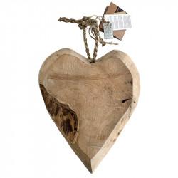 Hjärta i Teakträ, H: 26 cm