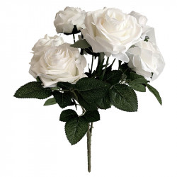 Rosbukett, 10 rosor, Vit, 42cm, Konstgjord Blomma
