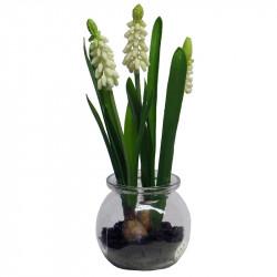 Pärlhyacint i glas, Vit, 22 cm, Konstgjord Växt