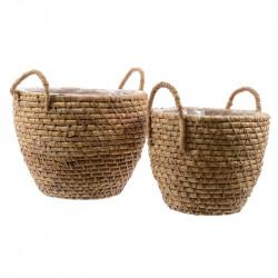 Plantkorg med handtag och plastfoder, 2 st./set