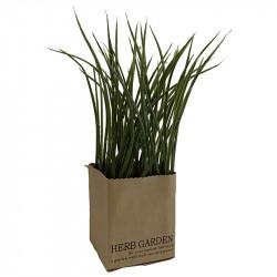 Gräslök i papperslåda, 23cm, konstgjord växt