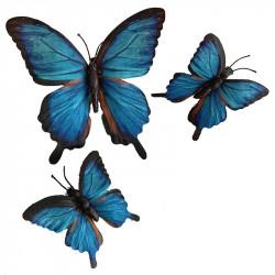 Fjärilar, 1 stor, 2 små, i silke, konstgjorda djur