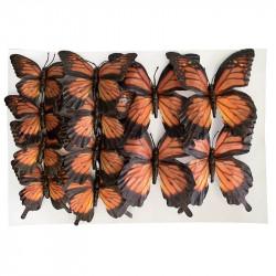 Fjärilar på klämmor, Orange, 12 st, 3 strl. Konstgjorda Djur