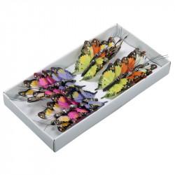 Fjärilar med ståltråd, 6 färger, 5 cm, konstgjorda djur