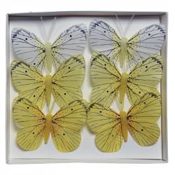 Fjärilar i gula färger, 6 st, 8 cm, konstgjorda djur