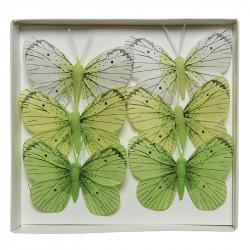 Fjärilar i gröna färger, 6 st, 8 cm, konstgjorda djur