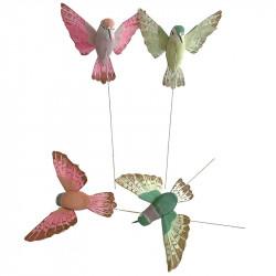 Kolibri på stålpinne, 12cm, rosa/grön, 4st, konstgjorda djur
